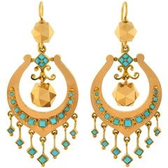 Victorian Persian Turquoise Faceted Gold Ball Dangle Earrings