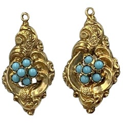 Victorian Persian Turquoise Flower Dangle Drop Earrings Forget Me Not Gold