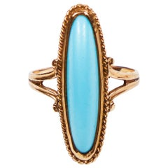 Victorian Persian Turquoise Petite Pinky Ring by Ostby & Barton in 10 Karat Gold