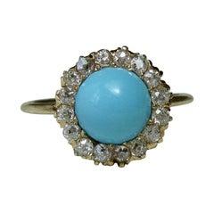 Victorian Persian Turquoise Ring Old Mine Cut Diamond Halo 14 Karat Gold Antique