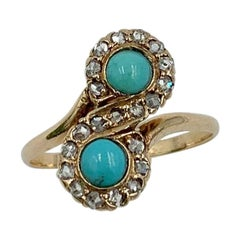 Victorian Persian Turquoise Ring Rose Cut Diamond 14 Karat Gold Antique Toi Moi