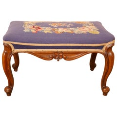 Victorian Petit Point Tapestry Upholstered Mahogany Stool