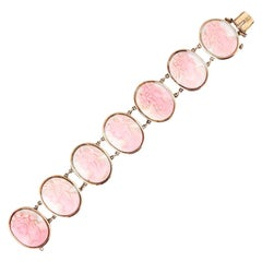Victorian Pink and White Conch Shell Cameo Bracelet 14 Karat Gold, Dated 1892