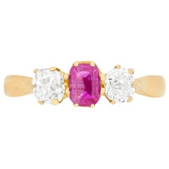 Victorian Pink Sapphire and Diamond Three-Stone Ring, circa 1900s