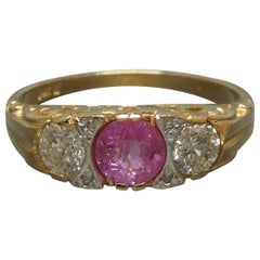 Victorian Pink Sapphire and Diamond Trinity Ring