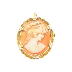 Victorian Pink Shell Cameo 18 Karat Yellow Gold Pendant Brooch