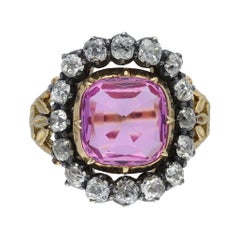 Victorian Pink Topaz and Diamond Cluster Ring, English, Circa 1840