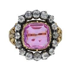 Victorian Pink Topaz and Diamond Cluster Ring, English, Circa 1840