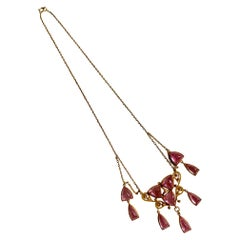 Victorian Pink Tourmaline 14 Karat Gold Necklace