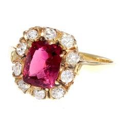 Victorian Pink Tourmaline Diamond Gold Cluster Ring