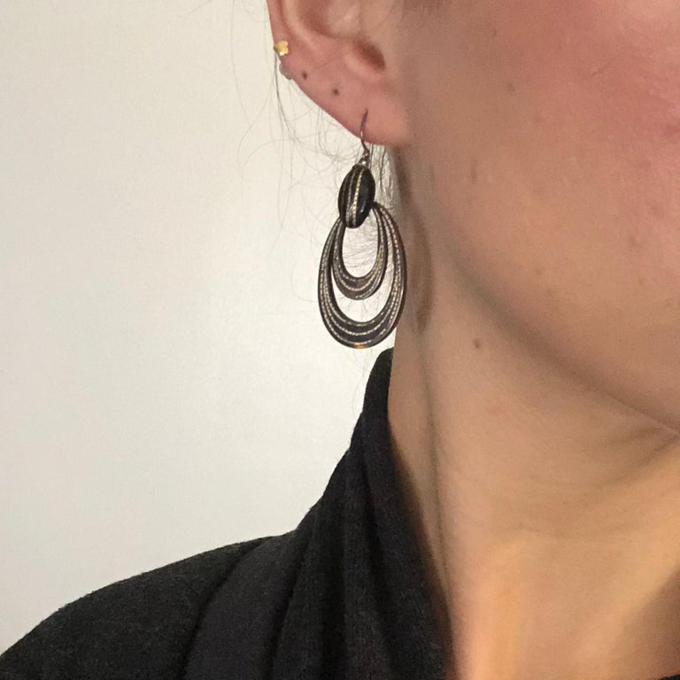 Women's Victorian Piquet and Gold Earrings For Sale
