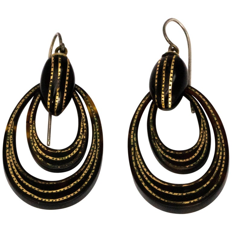 Victorian Piquet and Gold Earrings For Sale