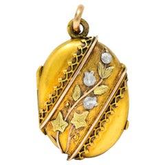 Victorian Platinum 14 Karat Tri-Color Gold Flower Leaf Locket