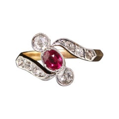Victorian Platinum 18 Karat Gold Old Euro and Old Mine Cut Diamond Ruby Ring