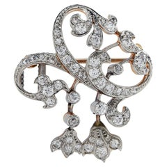 Victorian Platinum, Gold and Diamond Brooch Pin