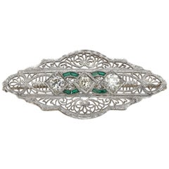 Victorian Platinum Old European Cut Diamond French Cut Emerald Filigree Brooch