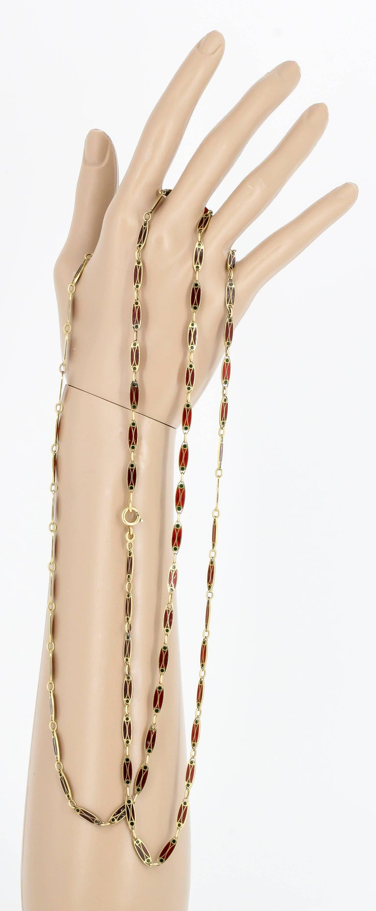 Victorian Plique-à-Jour Enamel and Gold Long Link Chain Necklace For Sale 5
