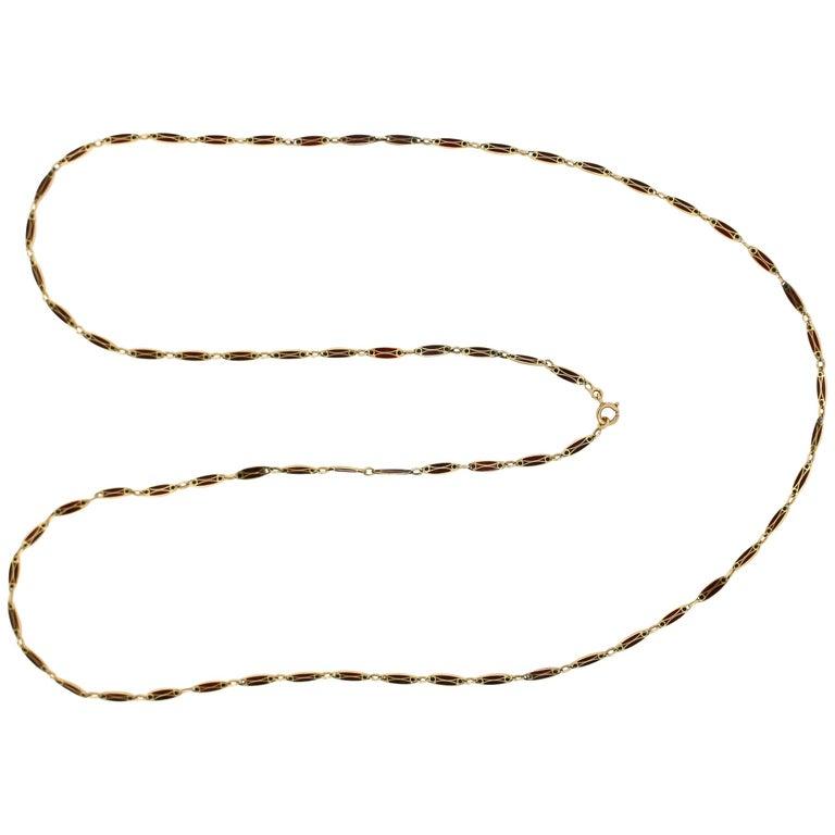 Victorian Plique-à-Jour Enamel and Gold Long Link Chain Necklace For Sale
