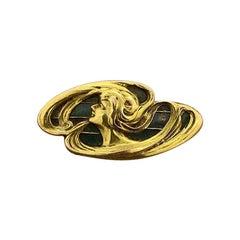 Victorian Plique-à-Jour Enamel Gold Brooch and Pendant