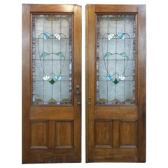 Victorian Pocket Doors with Stained Glass Panels