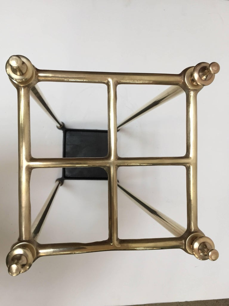 British Victorian Polished Brass and Cast Iron Umbrella Stand Valet For Sale