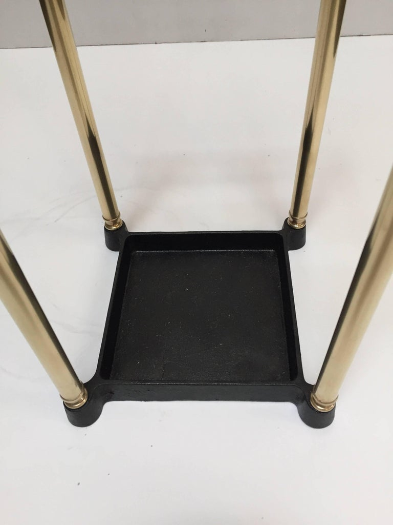 Victorian Polished Brass and Cast Iron Umbrella Stand Valet In Good Condition For Sale In North Hollywood, CA