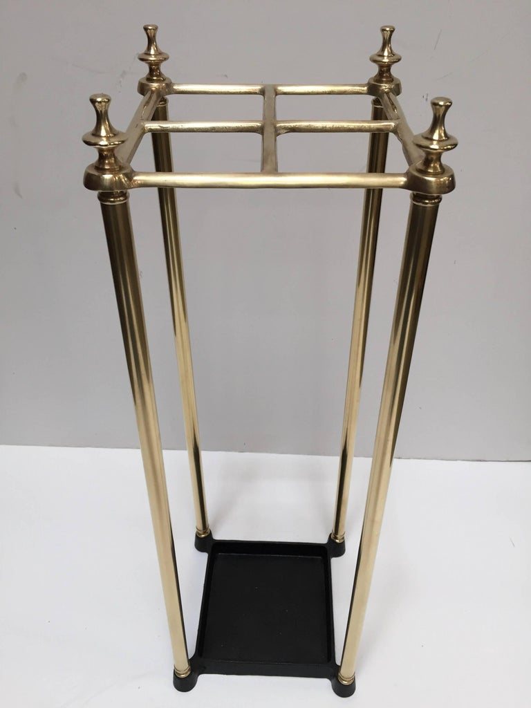 Victorian Polished Brass and Cast Iron Umbrella Stand Valet For Sale 4