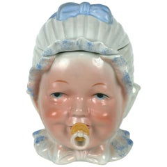 Victorian Porcelain Baby Head Jar or Humidor, Germany