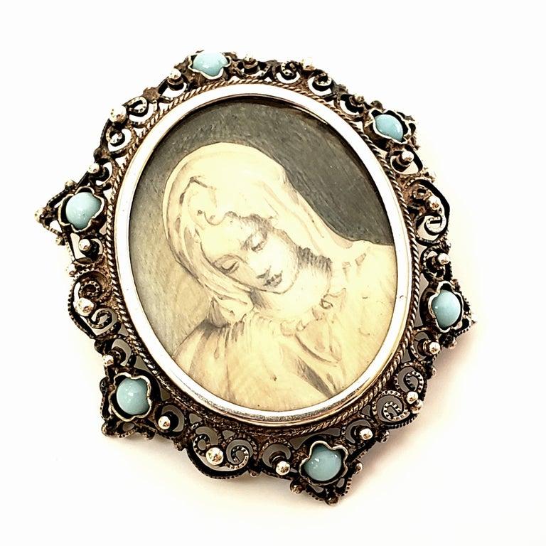 Women's Victorian Portrait 800 Silver Pin /Brooch / Pendant For Sale