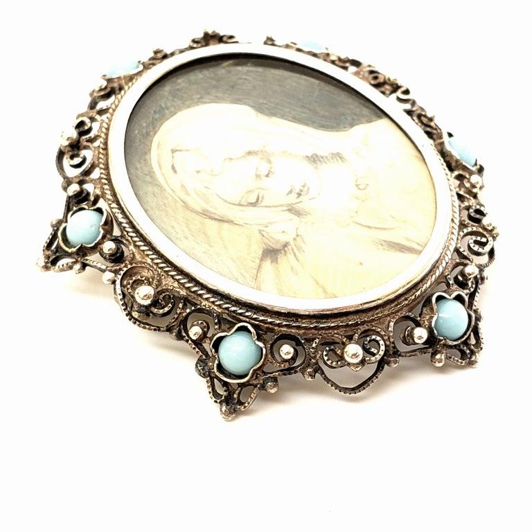 Victorian Portrait 800 Silver Pin /Brooch / Pendant For Sale 1