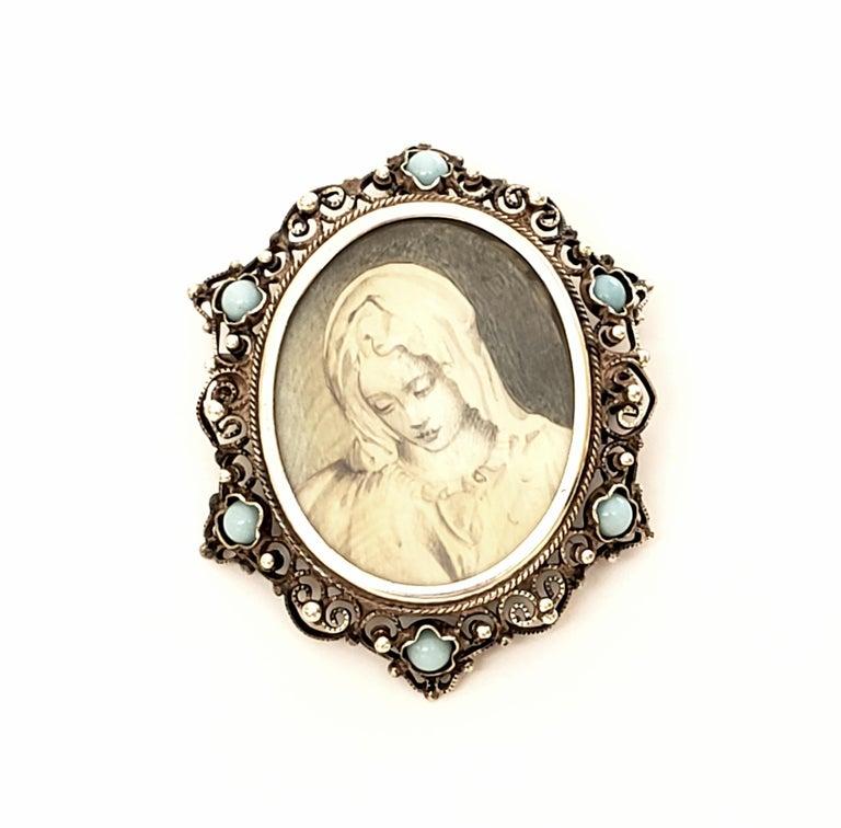 Victorian Portrait 800 Silver Pin /Brooch / Pendant For Sale 2