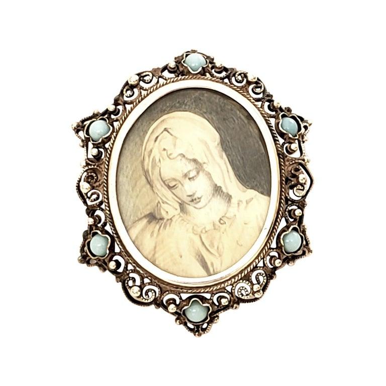 Victorian Portrait 800 Silver Pin /Brooch / Pendant For Sale
