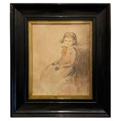 Victorian Portrait of a Seated Young Girl Knitting