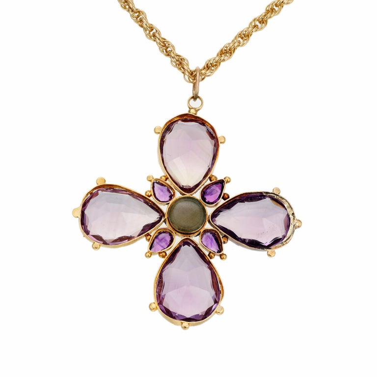Pear Cut Victorian Purple Amethyst Pearl Cross Yellow Gold Pendant Necklace For Sale