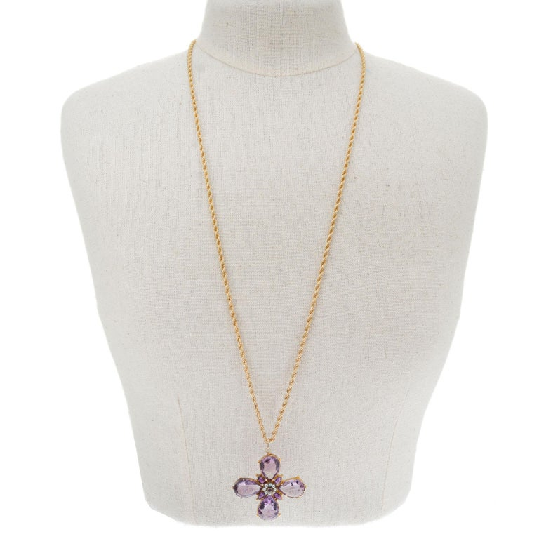 Victorian Purple Amethyst Pearl Cross Yellow Gold Pendant Necklace In Good Condition For Sale In Stamford, CT