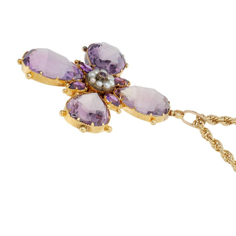 Women's Victorian Purple Amethyst Pearl Cross Yellow Gold Pendant Necklace For Sale