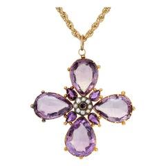 Victorian Purple Amethyst Pearl Cross Yellow Gold Pendant Necklace