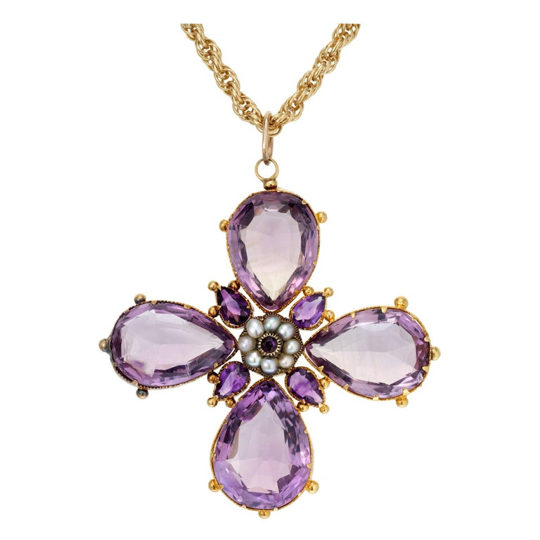 Victorian Purple Amethyst Pearl Cross Yellow Gold Pendant Necklace For Sale