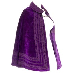 Victorian Purple Silk Velvet 1870/90 Cape With Chain Closure