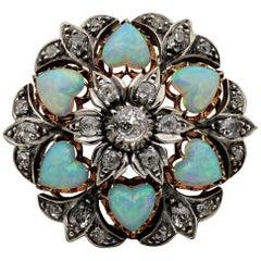 Victorian 10.50 Carat Heart Multi Opal 1.45 Carat Diamond Brooch Pendant