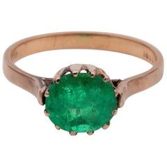 Victorian Rare 1.85 Carat Colombian Emerald Solitaire Ring 18 Karat Rose Gold