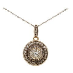 Victorian Rare and Unique 1.22 Carat Diamond Target Pendant Plus Chain