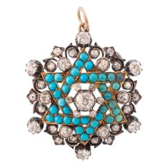 Victorian Rare Large Turquoise and 5 Carat Diamond Star of David Pendant Charm