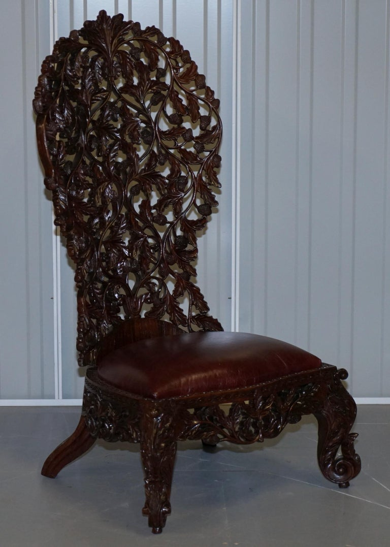 Victorian Rare Wood Hand Carved Anglo Indian Burmese Chairs Oxblood Leather Pair 6