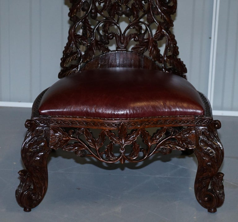 Victorian Rare Wood Hand Carved Anglo Indian Burmese Chairs Oxblood Leather Pair 8