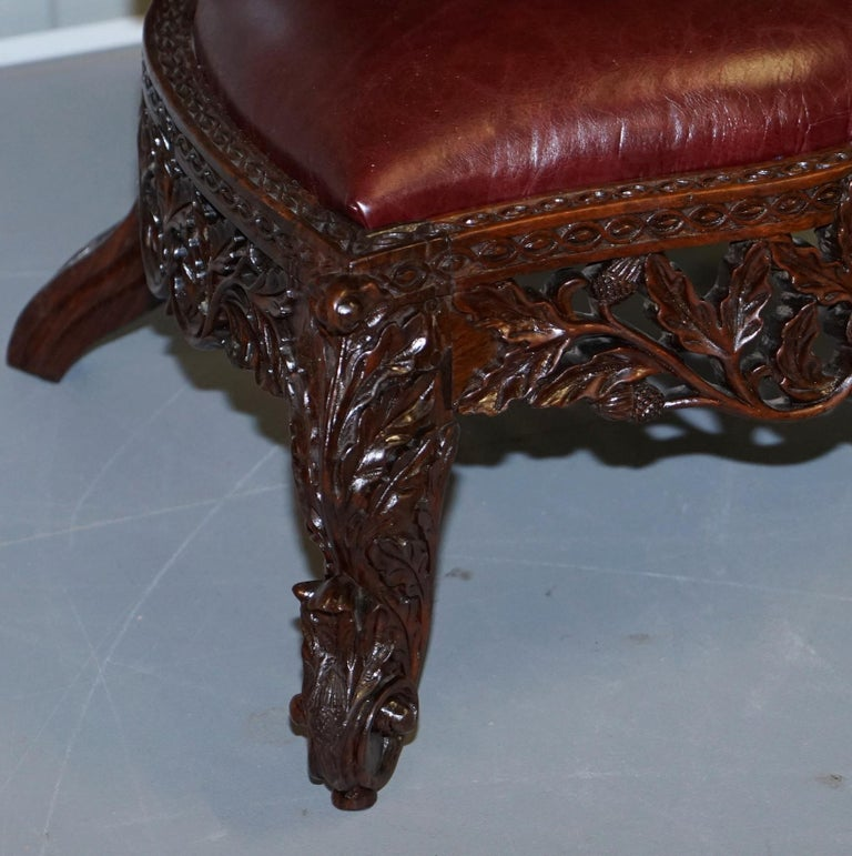 Victorian Rare Wood Hand Carved Anglo Indian Burmese Chairs Oxblood Leather Pair 9
