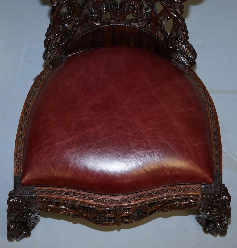 Victorian Rare Wood Hand Carved Anglo Indian Burmese Chairs Oxblood Leather Pair 11