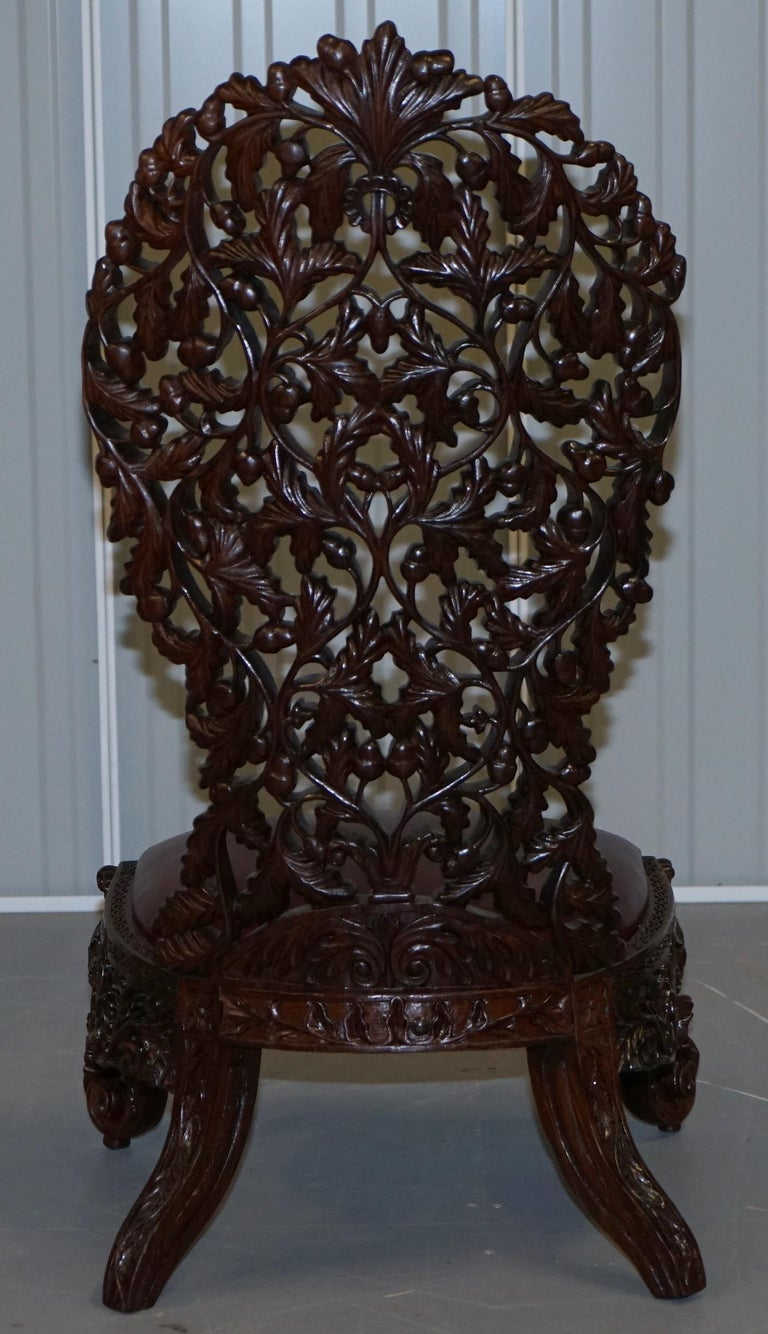 Victorian Rare Wood Hand Carved Anglo Indian Burmese Chairs Oxblood Leather Pair 12