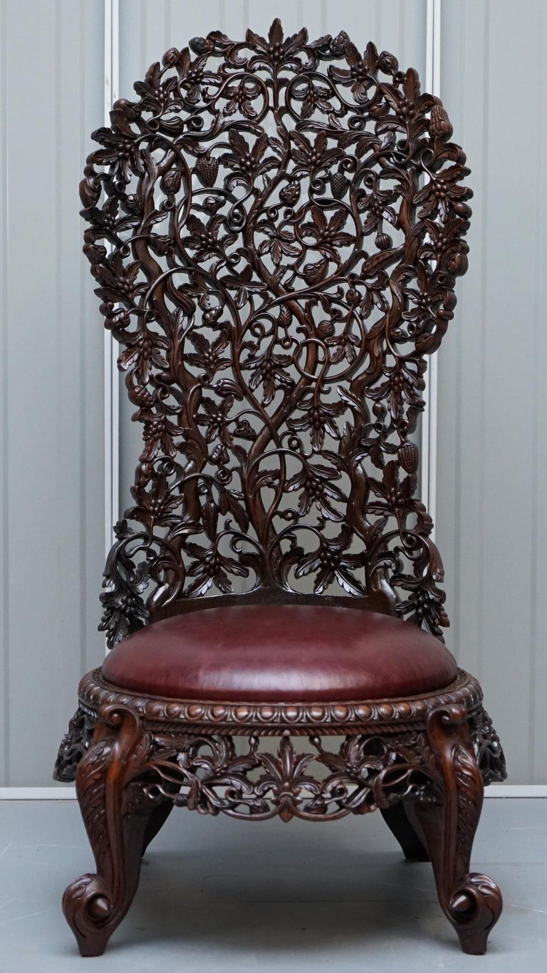 Anglo-Indian Victorian Rare Wood Hand Carved Anglo Indian Burmese Chairs Oxblood Leather Pair