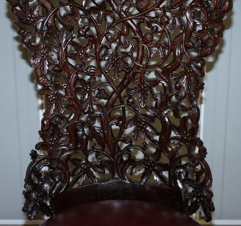 19th Century Victorian Rare Wood Hand Carved Anglo Indian Burmese Chairs Oxblood Leather Pair